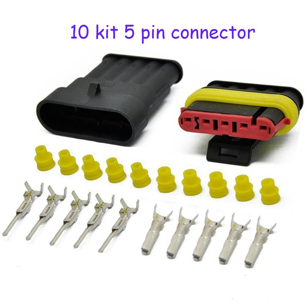 HIFROM 10 Kit 6 Pin Way Waterproof Electrical Connector 1.5mm Series Terminals Heat Shrink Quick Locking Wire Harness Sockets 20-16 AWG