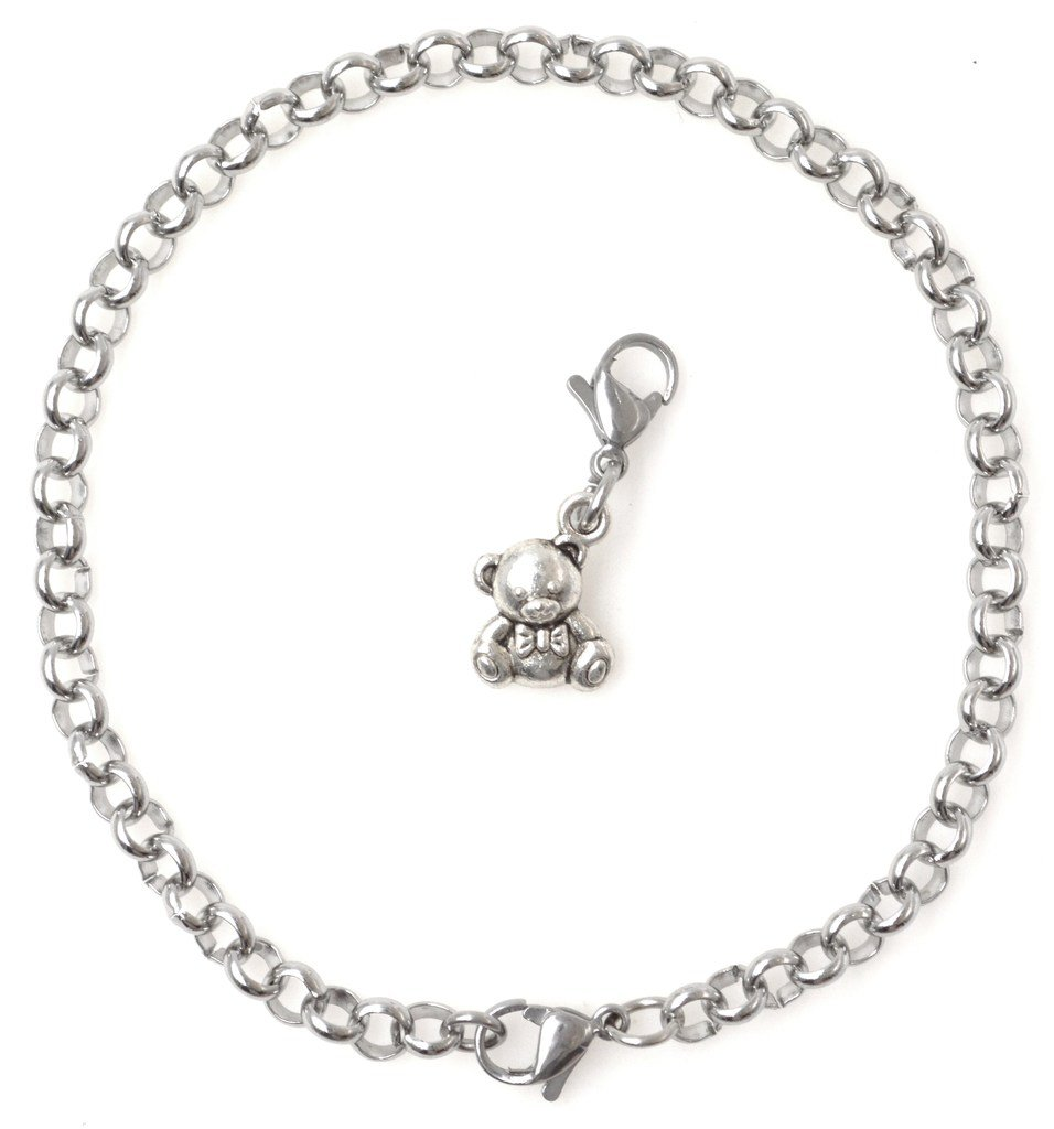 "2 PC SET: Adjustable 8.5"" Stainless Steel Starter Charm Bracelet and Clip on Charm Teddy Bear 2PB 40F by It's All About...You!"