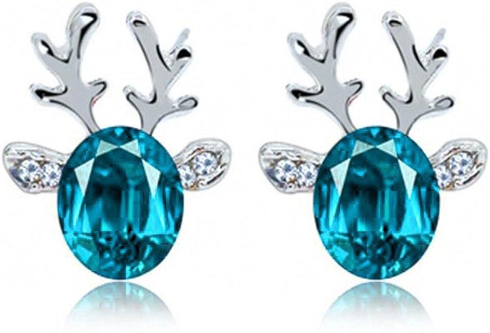 ASHOP Pendientes Mujer antialergicos Pendientes de piedras preciosas de cristal Cuernos de reno de Navidad tridimensionales Aretes Stud