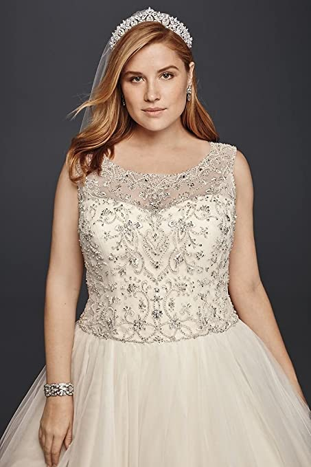 David\'s Bridal Oleg Cassini Plus Size Beaded Wedding Ball Gown Style ...