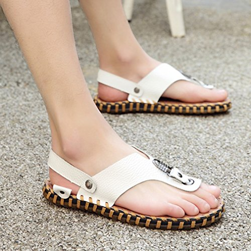 Summer Casual Mens Flip Flops Slippers Leather Slip White Comfortable Sandals on Beach Thong q4fgwZSq