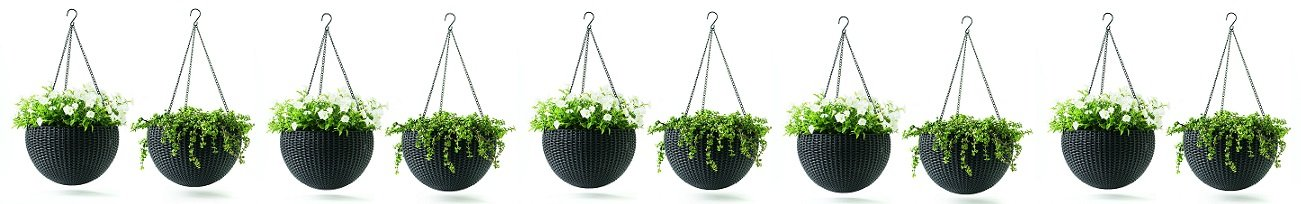 Keter Dia 13.9 in. Round Plastic Resin Garden Plant Hanging Planters Decor Pots 2 pc, Brown (5-Pack)