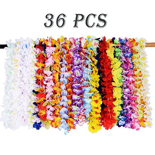 - Hawaiian Luau Leis Necklace 36 Counts Tropical Flower Lei Necklaces Birthday Party Favor Supplies Decorations