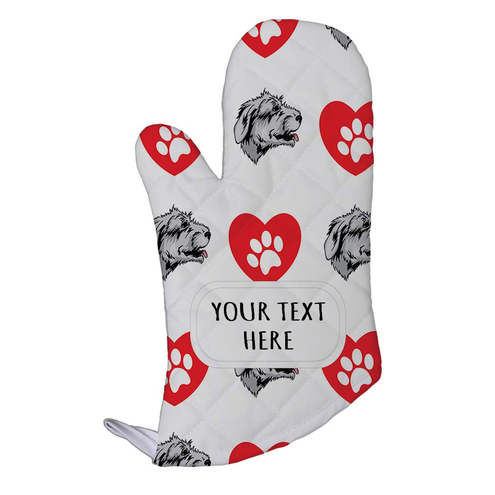 Style In Print Polyester Oven Mitt Custom Irish Wolfhound Dog Heart Paws Pattern Adults Kitchen Mittens
