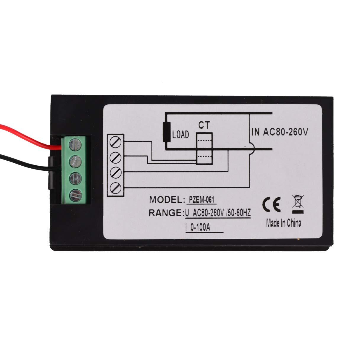 Baitaihem AC 80-260V 100A LCD Display Digital Current Voltage Power Energy Meter Multimeter Ammeter Voltmeter by Baitaihem (Image #4)