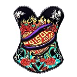 Bslingerie Womens Black Snake Print Rock N Roll Fashion Boned Corset Size: M