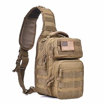 4290ce03b Tactical Sling Bag Pack Military Shoulder Sling Backpack Small Range Bag  Day Pack Tan
