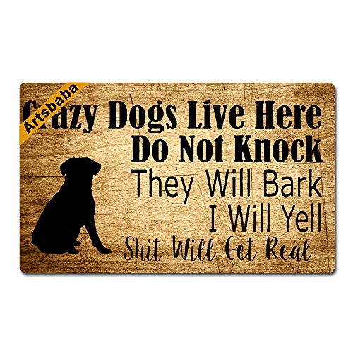 Artsbaba Personalized Your Text Doormat Crazy Dogs Live
