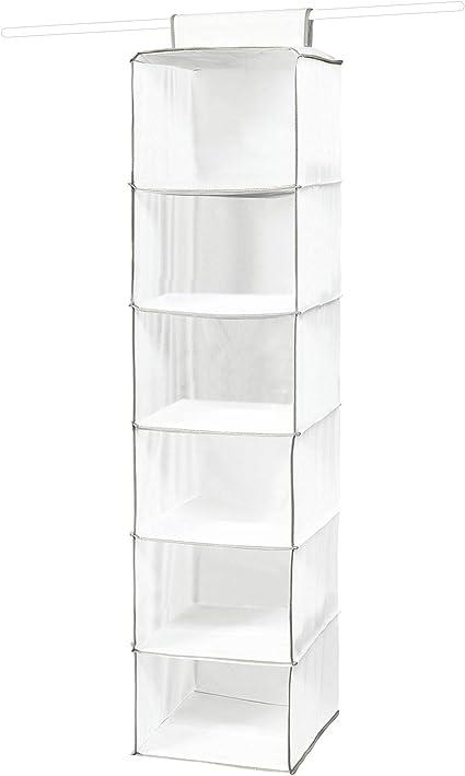 Compactor Estantería para jerséis 6 baldas, Gama Novara, Color blanco, Tamaño 30 x 30 x 128 cm, RAN1527