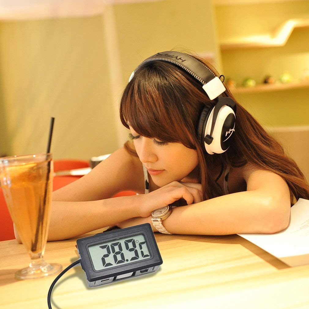 50~110/°C Black Indoor Kitchen Metasure Leoboone TL8009 Mini Digital LCD Thermometer for Refrigerator Fridge Freezer Temperature