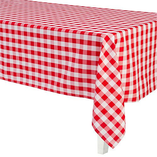 Red & White Rectangular Polyester Tablecloth Party Supplies ()
