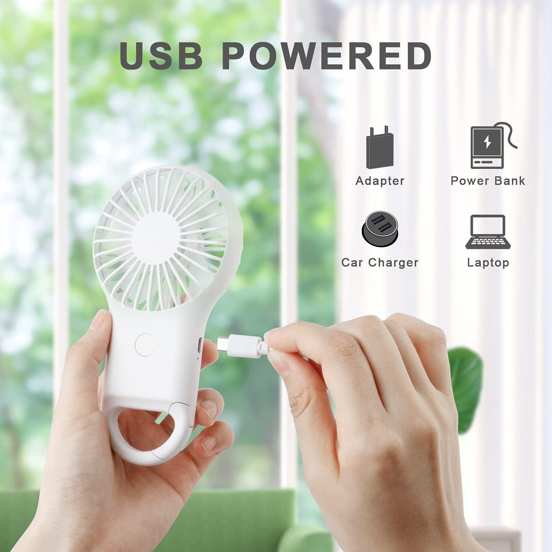 TDW MiNi Ventilador Portatil,Ventilador USB de Mano Silencioso de 3 Velocidades Con luz LED Para la Clase//Movimiento//Viajar// Acampar//Concierto ect