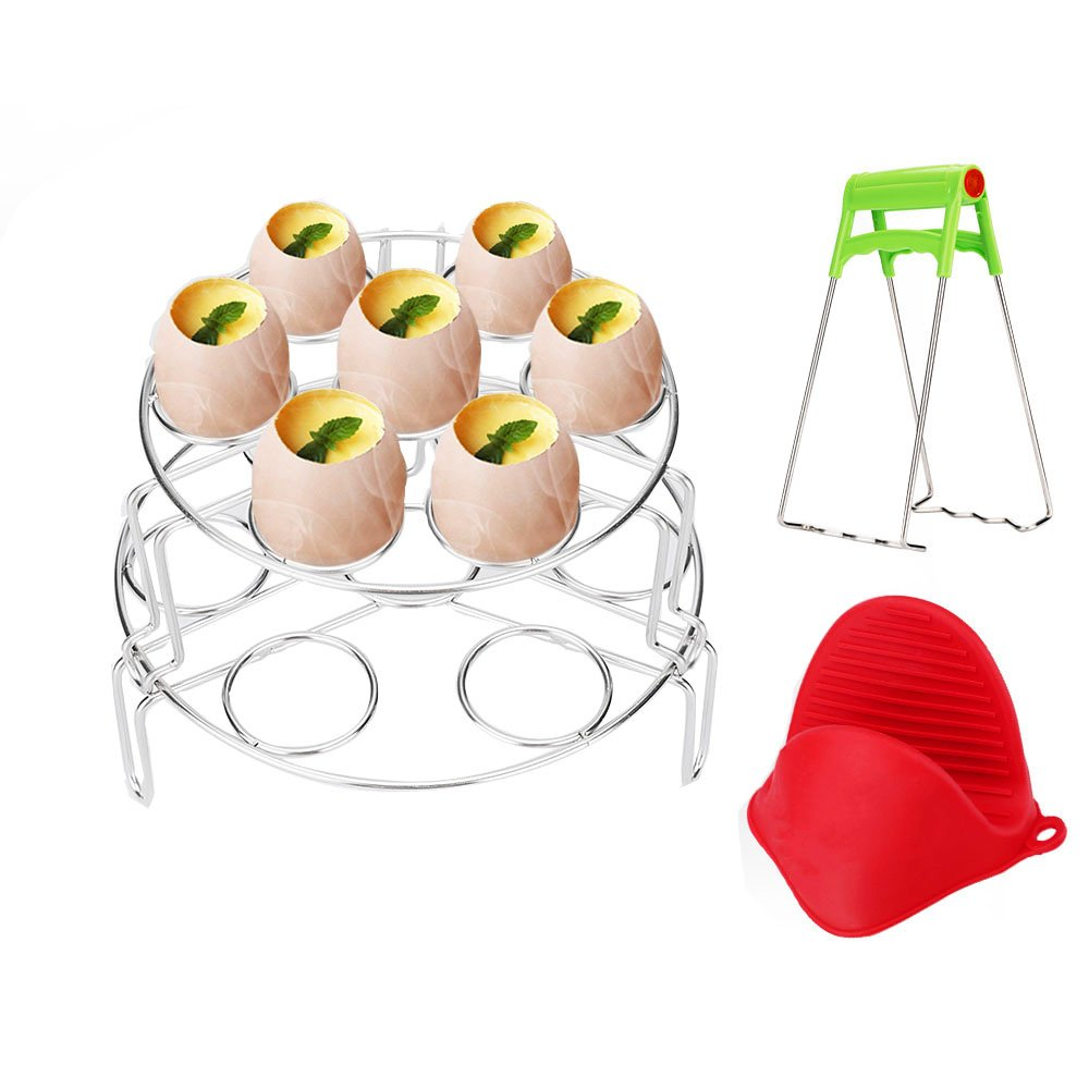 Tomos Steamer Basket, Egg Steamer Rack for Eggs Cooker with Anti-hot Gloves 4 PACK, Stackable Steamer Rack for Instant Pot Pressure Cooker Accessories, Food Grade SUS 304 Stainless Steel