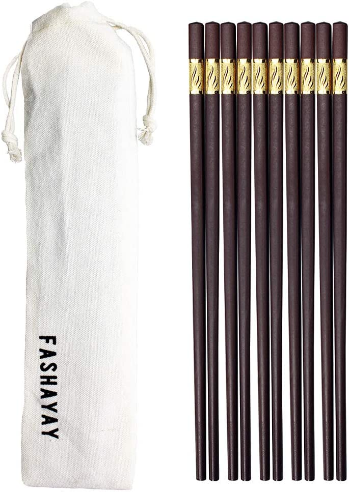 5 Pairs/10pairs Fiberglass Alloy Chopsticks, 10.6 Inches Reusable Chopsticks, Dishwasher Safe, Non-slip Chopsticks Gift Set for Sushi, Noodles and Asian Food with a Carry Bag (Brown, 5)