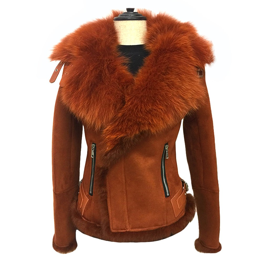 She'sModa Celeb Real Fox Fur Lapel Suede Leather Jacket With Thick Fleece Women's Winter Coat Moto Jacket S Caramel