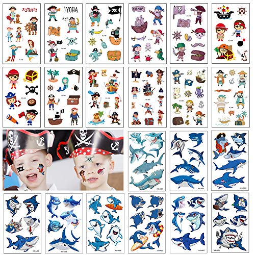 140+ PCS Kids Tattoos, Pirates with Shark Themed Cute Cartoon Temporary Tattoos for Boys Girls Kids Birthday Party Bag Filler, Party Favors -
