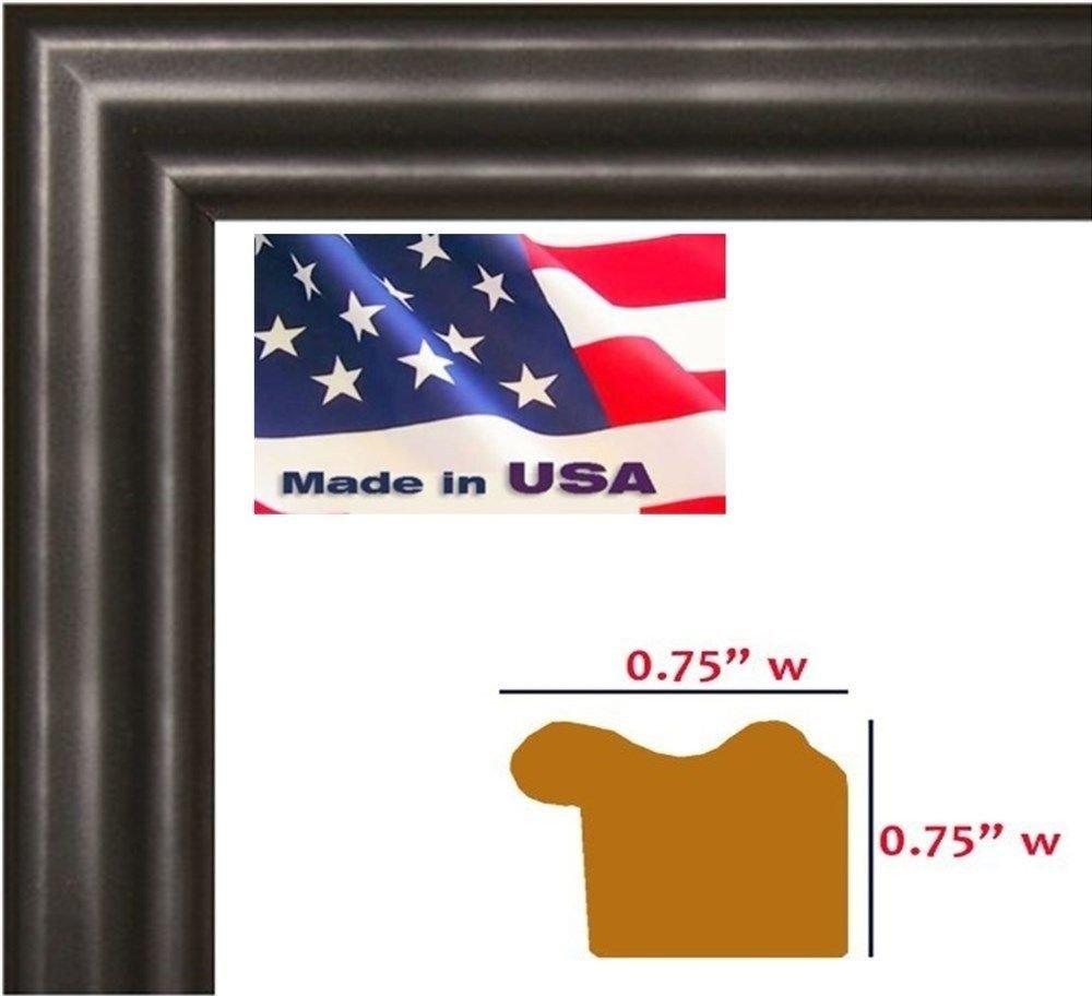 US Art 4x6 Satin Black .75 Inch Solid Hardwood Picture Photo Frame