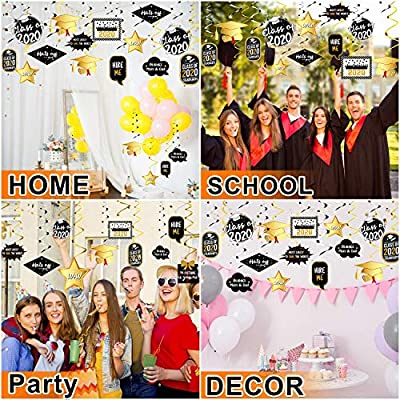 Graduation Party Supplies 2020-30PCS Gold and Black Grad Party Decorations Hanging Swirl Strings - Class Graduate Decoration Kits for Photo Props, College, High School Prom Decorations: Toys & Games