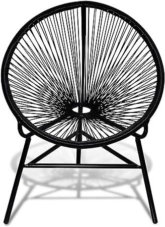 vidaXL Silla con Forma Ovalada para Jardín Exterior de Poli Ratán Color Negro: Amazon.es: Hogar
