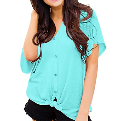 Women Casual Cardigan Tunic Blouse Button Down at Women's Clothing store