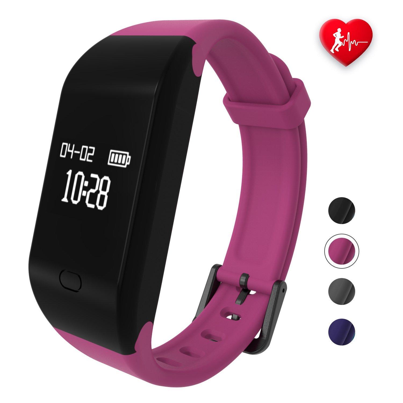 Bracciale Fitness, fitpolo Orologio Fitness Activity Tracker Uomo/Donna, Cardiofrequenzimetro da Polso, Fit Smart Band , Contapassi da polso, Smartwatch Compatibile con Iphone Android Impermeabile IP67(Blu scuro)