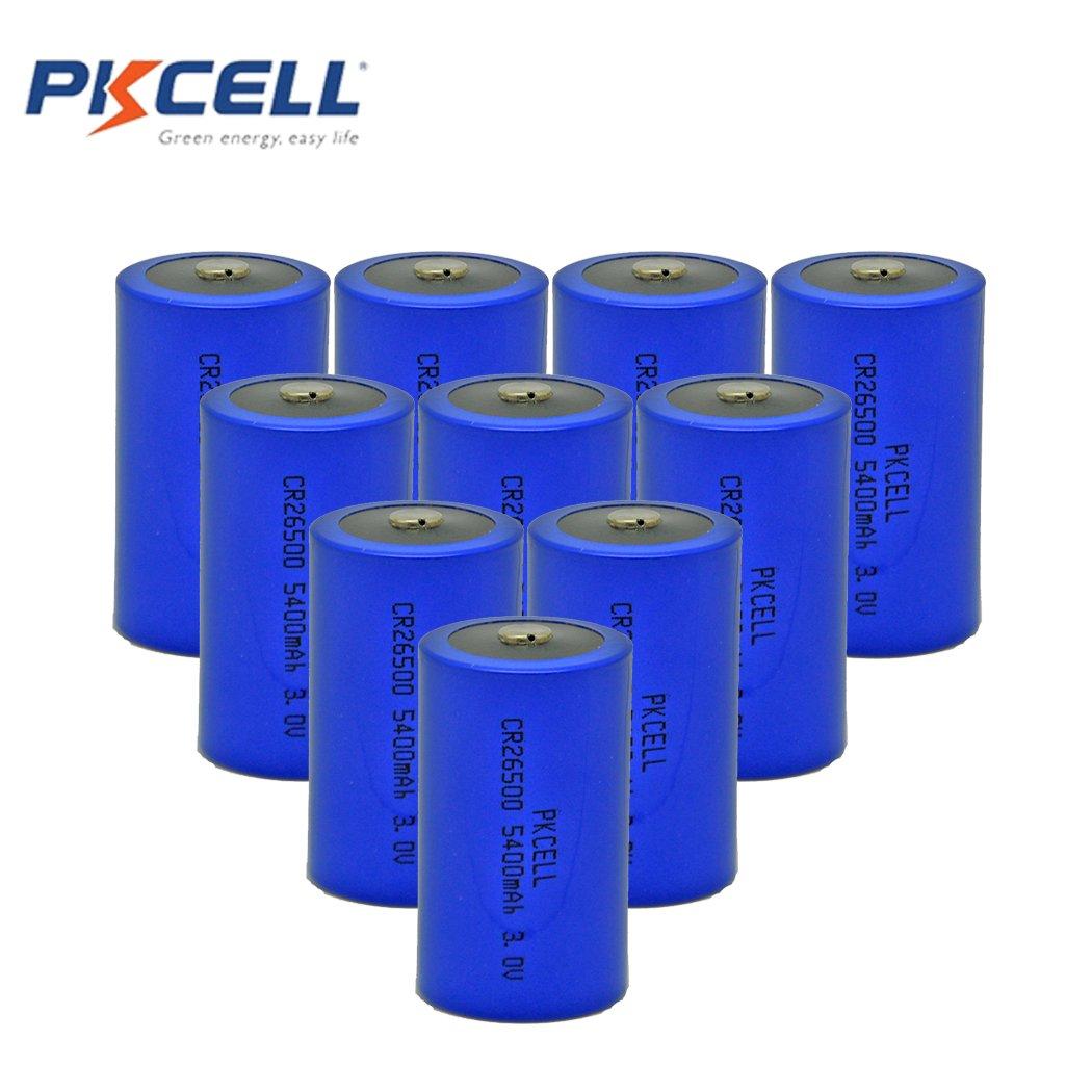 Pkcell C Size C Cell 3V CR26500 5400mAh Li/MonO2 Battery Unrechargeable Batteries (10pc)