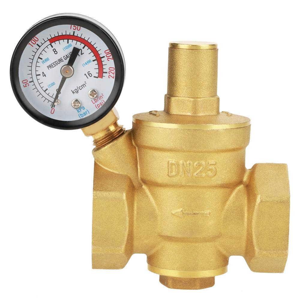 Pressure Reducing Valve, DN25 G1inch Brass Water Pressure Reducing Valve 1'' Adjustable Water Control Pressure Regulator Valve Thread with Gauge Meter