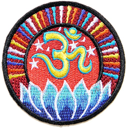 Aum Om Ohm Hindu Yoga Indian Lotus Lucky Logo Symbol Sign Hippie Retro Biker Jacket T-shirt Vest Patch Sew Iron on Embroidered Badge (Hindu Halloween Costumes)