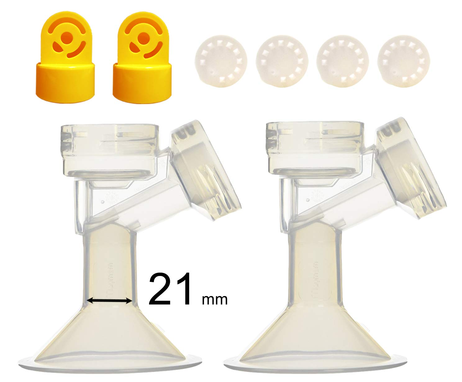 21 mm 2xOne-Piece Small Breastshield w/ Valve and Membrane for Medela Breast Pumps; Replacement to Medela PersonalFit 21 Breastshield and Personal Fit Connector; Made by Maymom