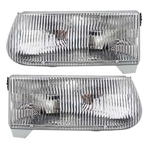 Headlights Headlamps Driver and Passenger Replacements for 95-01 Ford Explorer Mercury SUV F5TZ13008B F5TZ13008A