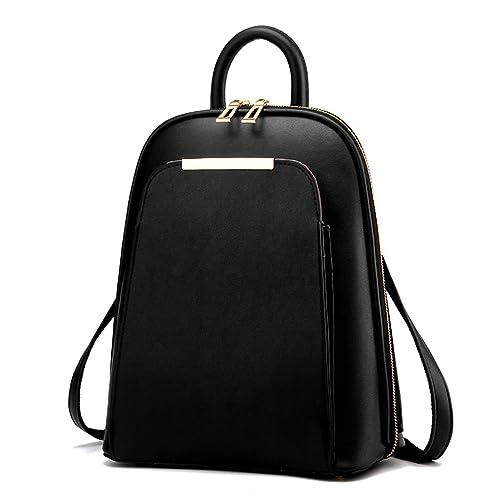 bcb300d0247d Women s Backpack Handbags Shoulder Bags School Backpack Daypack Laptop Bag  PU Leather Black(Size
