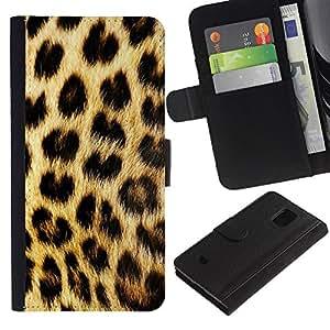 iBinBang / Flip Funda de Cuero Case Cover - Pattern Fur Golden Brown Spots - Samsung Galaxy S5 Mini, SM-G800, NOT S5 REGULAR!
