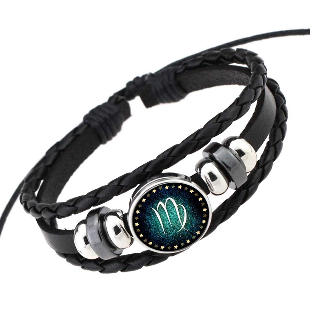 Rosemes Retro 12 Constellation Beaded Hand Woven Leather Bracelet PUNK Chain Cuff