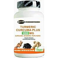 Turmeric Curcuma 1000mg Curcumine + Pipérine + Gingembre 60 Comprimés Brûleur de Graisse Dosage élevé Extraits Séchés Poivre Noir Certifié à 95% Curcumine Haute Biodisponibilité