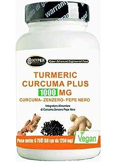 Turmeric Cúrcuma 1000mg La Curcumina + Piperina + Jengibre 60 Comprimidos Quemador de Grasa Alta Dosis