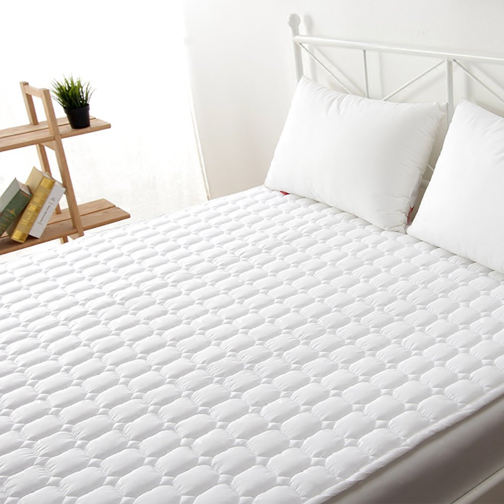 Overfilled mattress pad cover Protector Floor tatami mat,Hypoallergenic quilted mattress pad Cooling mattress topper Hotel soft white bed mattress pad,Deep pocket fitted skirt-A 150x200cm(59x79inch)