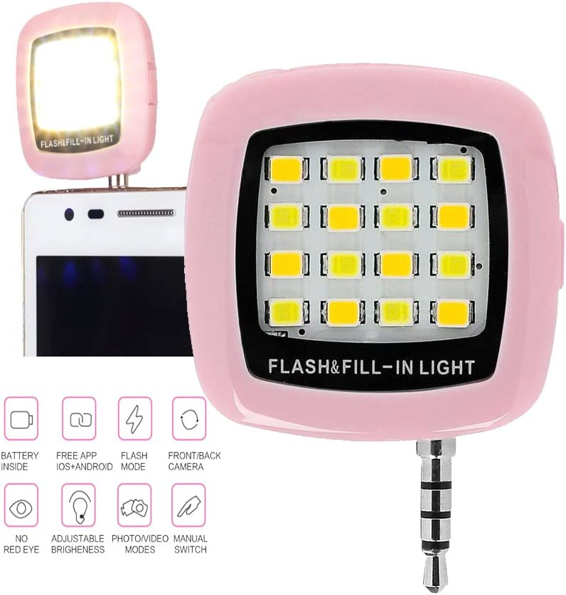 Pink New Wayzon Mini Protable Selfie Flash Photography Lighting Red-Eye Remover 16 LEDs Flash Fill in Light
