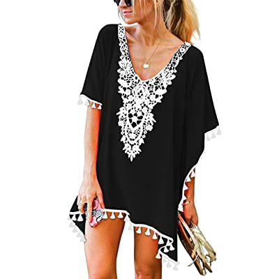 CPOKRTWSO Women's Crochet Chiffon Tassel Swimsuit Beach Bikini Cover Ups for Swimwear at Women's Clothing store