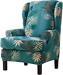 Feian 2pcs Wing Chair Slipcovers Stretchy Wingback Armchair Covers Spandex Polyester Sofa Covers Leaves Printed Furniture Protector (Green)