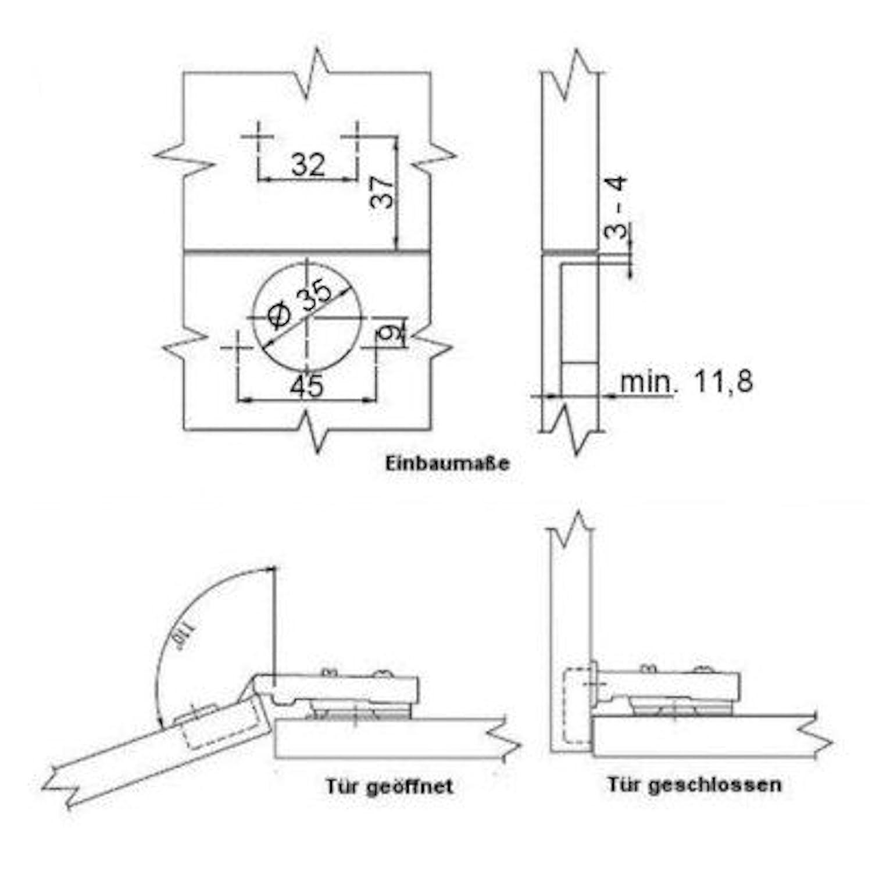 Kreuzplatte mit Exzenterverstellung SO-TECH/® Invo Topfband T48 Eckanschlag 110/°