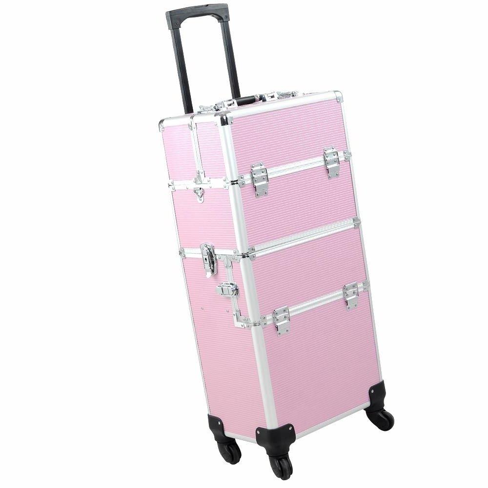 PinkMakeup Train Organizer Box Aluminum Cosmetic Tool Storage Case