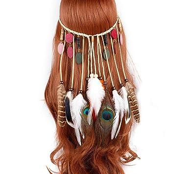 Feather headpiece Feather headband Boho Bohemian wedding hair jewelry Festive headpiece Feather hair jewelry Boho headband Native headpiece
