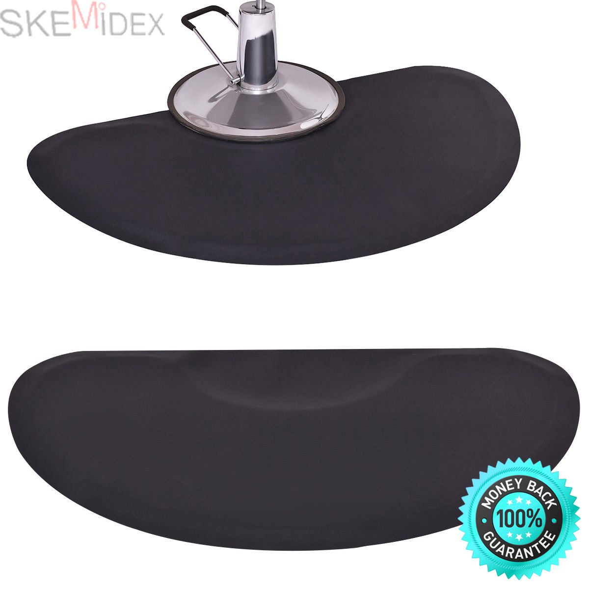 SKEMiDEX---Black Semi Circle 5'x3' 1/2'' Barber Salon Anti Fatigue Floor Mat Beauty Supplier. Can be used with barber chairs, salon chairs, shampoo stations and more