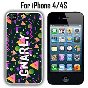 Gnarly 90s NInties Pattern Custom Case/ Cover/Skin *NEW* Case for Apple iPhone 4/4S - White - Rubber Case (Ships from CA) Custom Protective Case , Design Case-ATT Verizon T-mobile Sprint ,Friendly Packaging - Slim Case