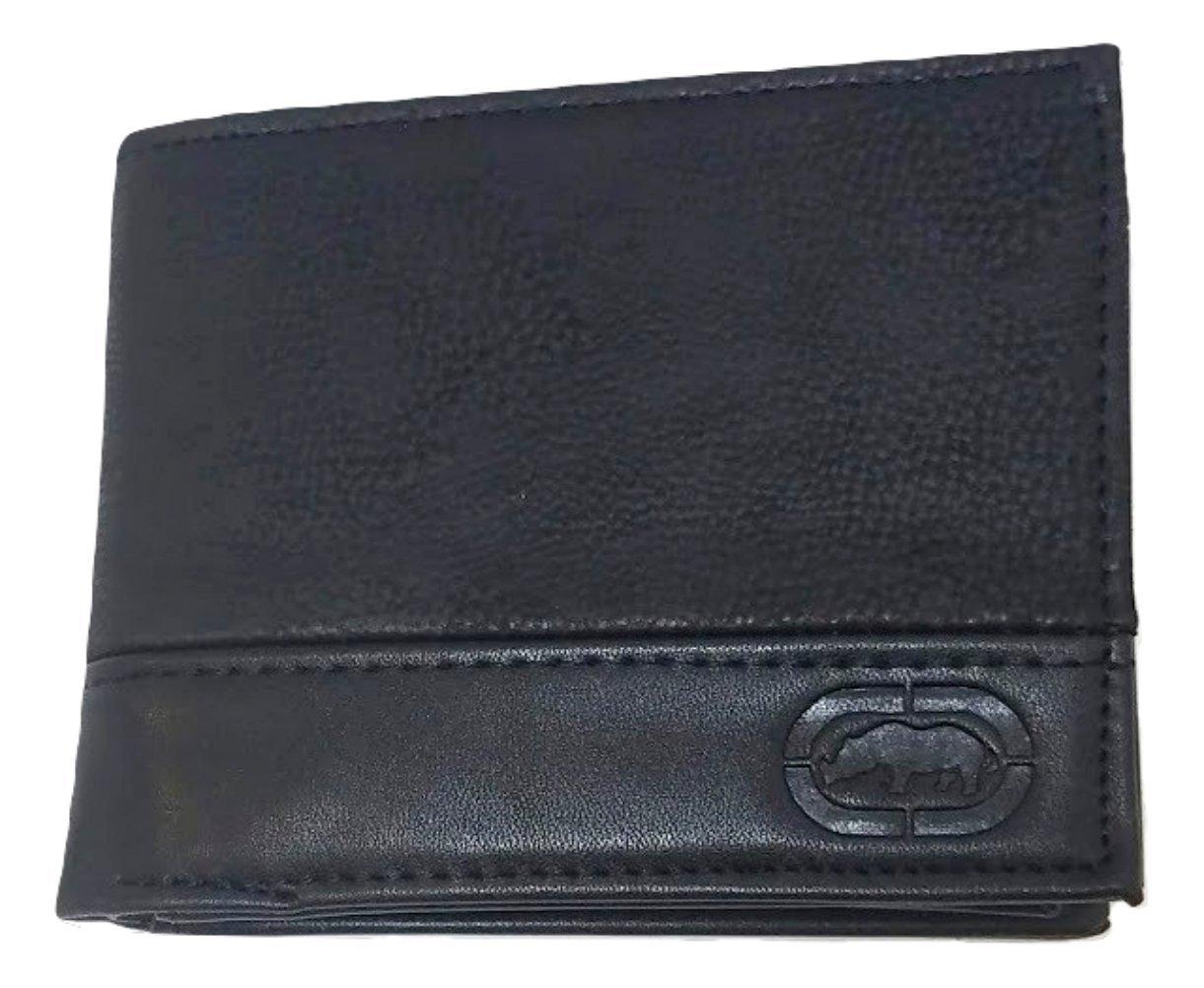 Ecko Unltd. World Famous Rhino Men's Genuine Leather Black Wallets - Gift Boxed Keepsake Metal Box, Bi-Fold Wallet (Black on Black)