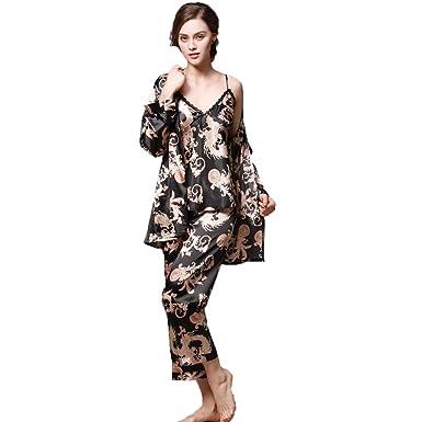 21085144f363b 3Pcs Women Silky Satin Pajama Set Elegant Flora Print Lace Cami Top+Full  Sleeve Robe