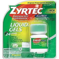 Zyrtec 24 Hour Indoor & Outdoor Allergy Medicine Liquid Gels With Cetirizine, 15 Count
