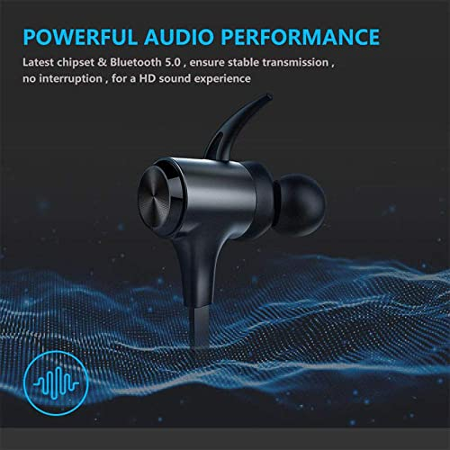 Wireless Headphones, Boltune Bluetooth 5.0 IPX7 Waterproof 16 Hours Playtime Bluetooth Headphones, with Magnetic Connection, Sports Earbuds for Running Built-in Mic