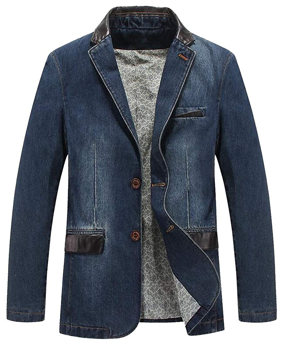 Mstyle Mens Regular Fit Business Splicing Leather Casual Two Button Denim Blazer Jacket Suits Coat