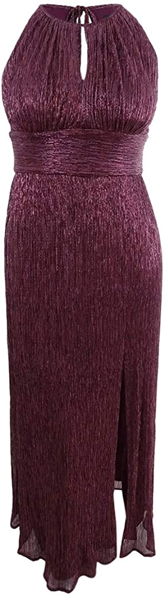 R/&M Richards Womens Halter Metallic Formal Dress